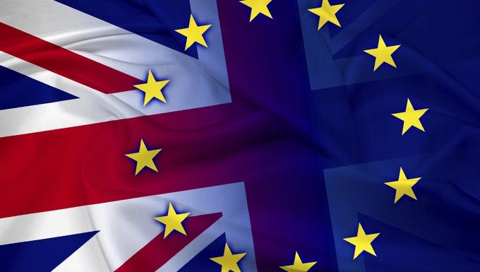 Waving United Kingdom and European Union Flag